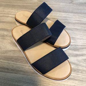 Zara Girls Navy Blue Two-Strap Slip Ons, Size 13